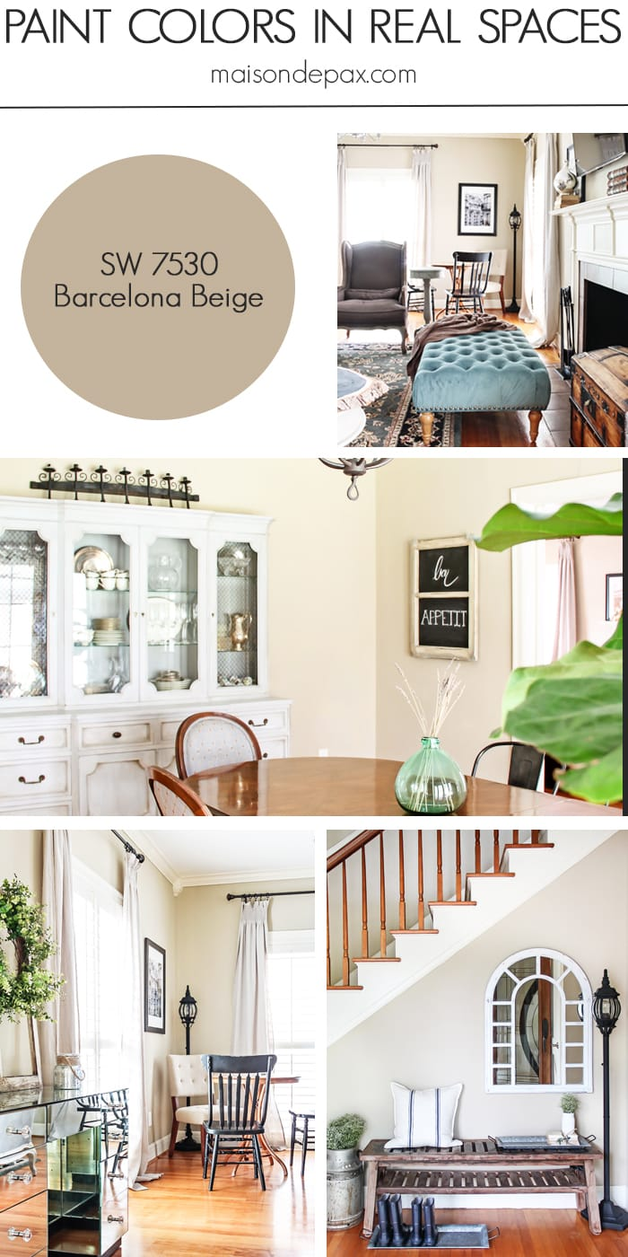 Barcelona Beige (SW 7530) by Sherwin Williams: see paint colors in real spaces in this home tour full of lovely, nature-inspired neutrals | maisondepax.com