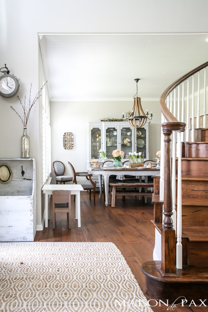 beautiful French country dining room with a lovely, fresh table setting | maisondepax.com