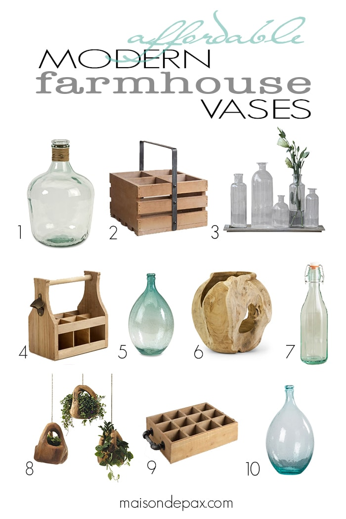 Affordable modern farmhouse vases available online. Half are less than $40!