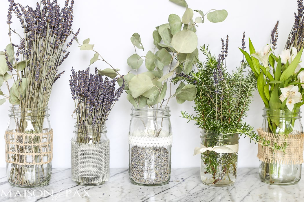 beautiful - I love all the burlap and ribbons! Mason jars with dried lavender make easy and gorgeous centerpieces for home, parties, weddings, or baby showers | maisondepax.com