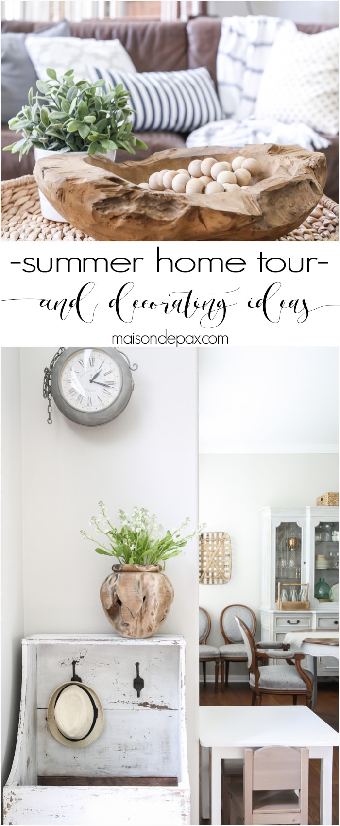 Beautiful summer home tour with lots of whites, raw wood tones, and simple decorating ideas