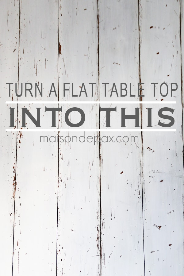 how to turn a regular table top into a farmhouse, plank look