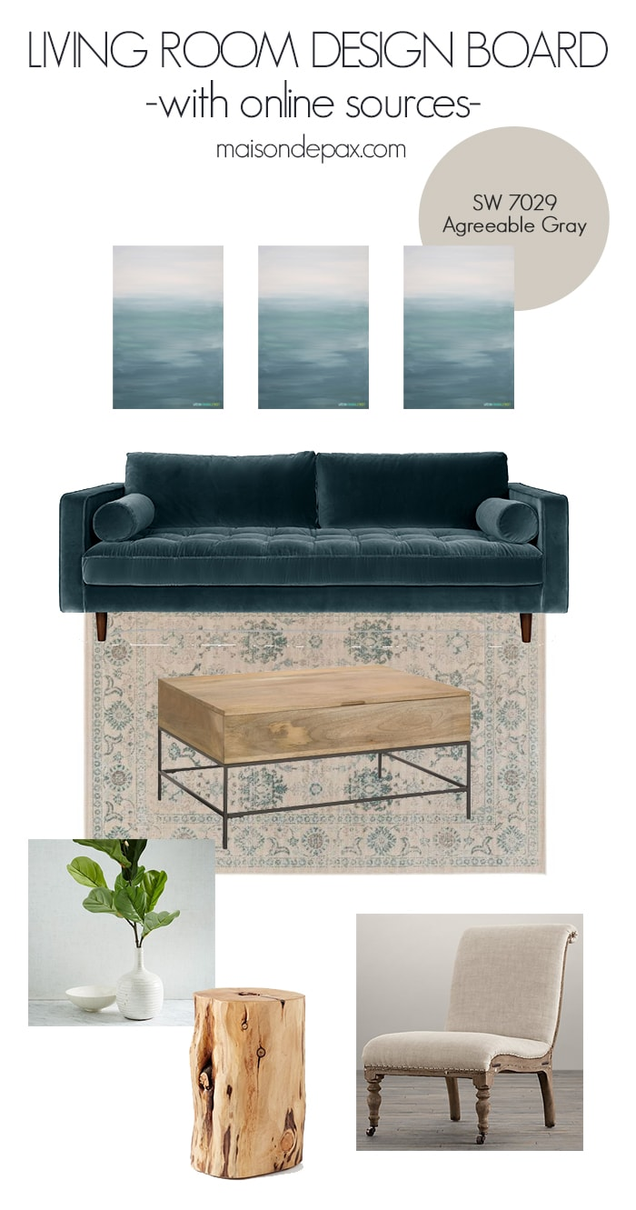 Gorgeous living room mood board with a blend of traditional and modern design elements... all sources linked!