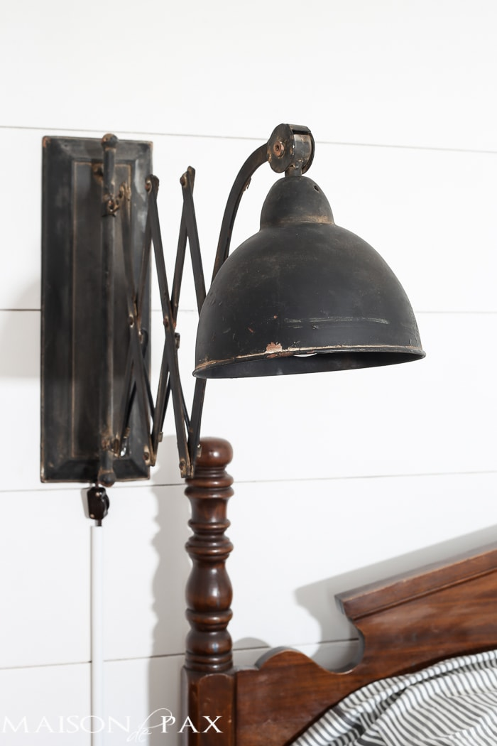How to turn a hard wire light fixture into a plug in maison de pax antique bed vintage accordion sconce shiplap walls vintage school desk as bedside table mozeypictures Image collections