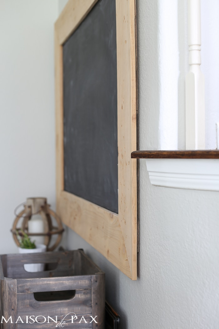 side view cedar frame of diy giant chalkboard
