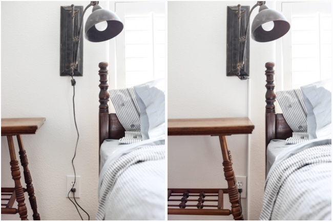 how to hide sconce cords easily - in about 2 minutes... this cord cover is even paintable!