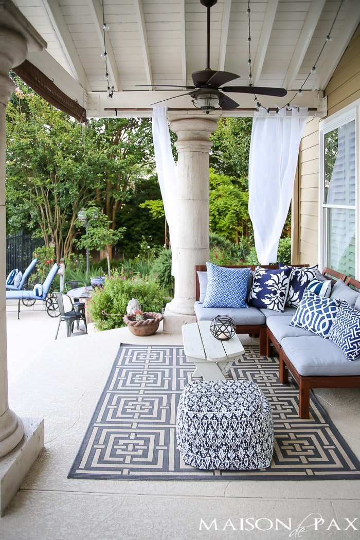 Outdoor Decorating Tips: Ikea sectional is an affordable base to a gorgeous, layered patio