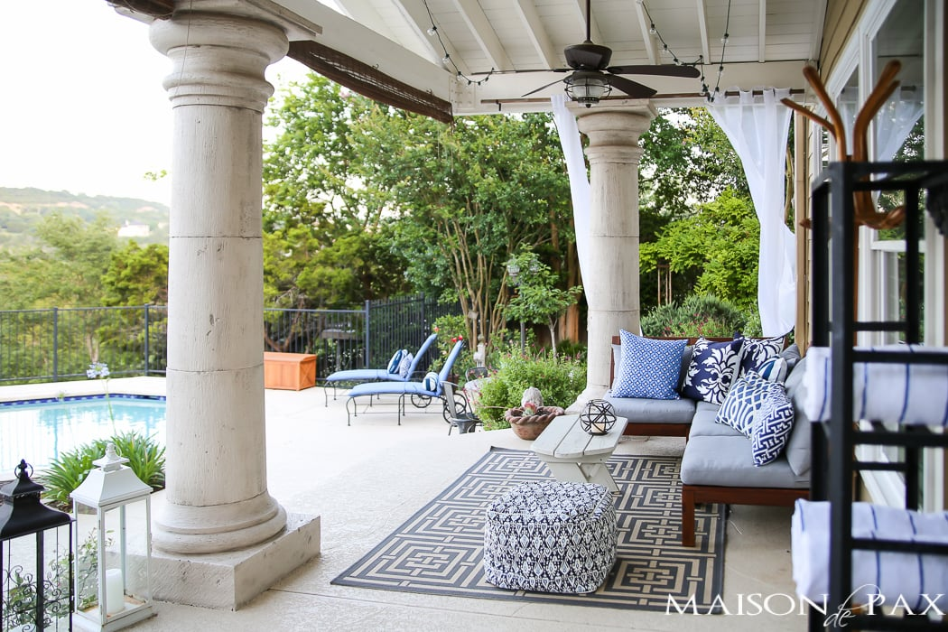 Outdoor Decorating Tips: choose an affordable, flat weave outdoor rug to bring pattern and ground the space