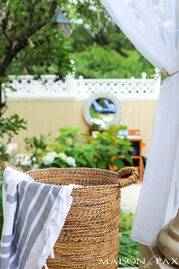 Outdoor Decorating Tips: Don't be afraid of outdoor textiles: curtains, rugs, and throws can make a space cozy and welcoming and feel like an extension of your home