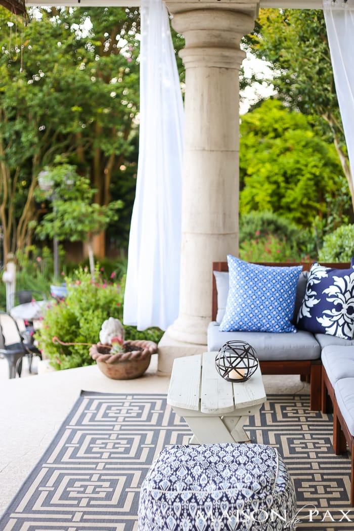 Outdoor Decorating Tips: try affordable outdoor curtains to make a porch or patio feel instantly more like an extension of your interior