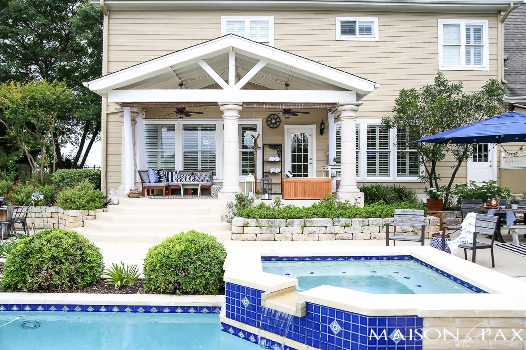 Outdoor Decorating Tips: find some shade! Bamboo blinds, outdoor curtains, and umbrellas can all help you enjoy your outdoor living area