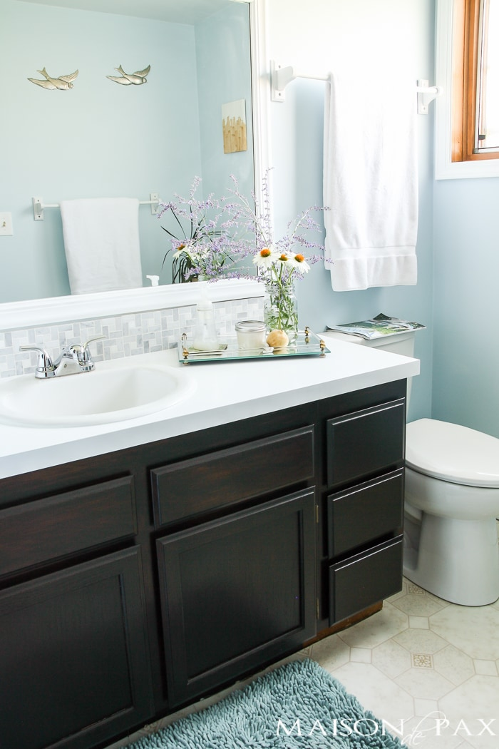 How to use gel stain: maintain wood grain and update a bathroom with orange oak into a modern, sleek space with no major stripping or sanding!