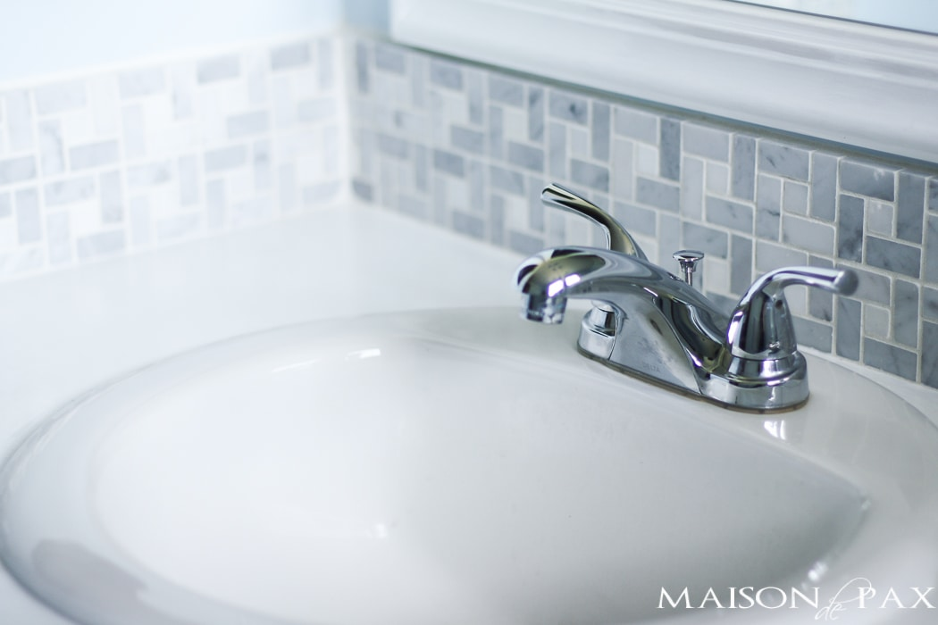 gorgeous marble tile as a bathroom backsplash - actually affordable!