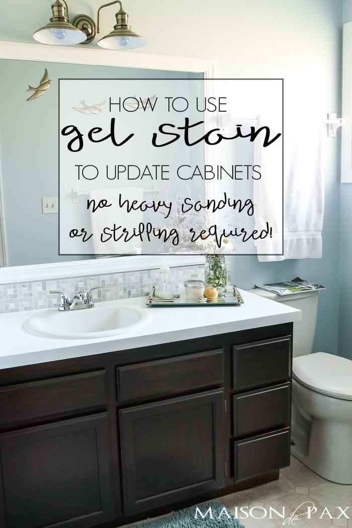 diy gel stain cabinets no heavy sanding or stripping maison de pax. Black Bedroom Furniture Sets. Home Design Ideas