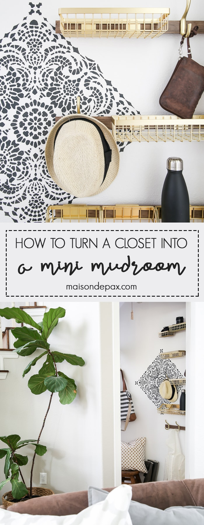 How to turn closet into mudroom: What an adorable space! Baskets and hooks turn a closet under the stairs into a functional mudroom space for a family.