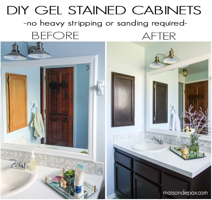 how to use gel stain maintain wood grain and update a bathroom with orange oak - Bathroom Cabinets Before And After