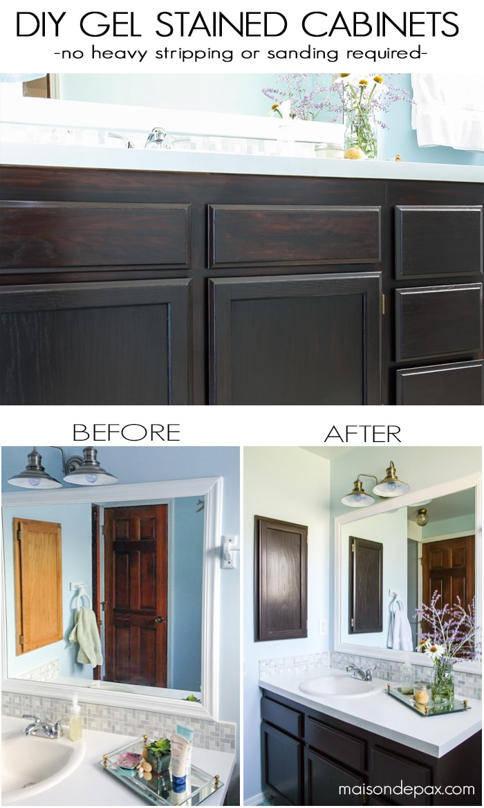 gel stain kitchen cabinets. How to use gel stain  maintain wood grain and update a bathroom with orange oak DIY Gel Stain Cabinets No heavy sanding or stripping Maison