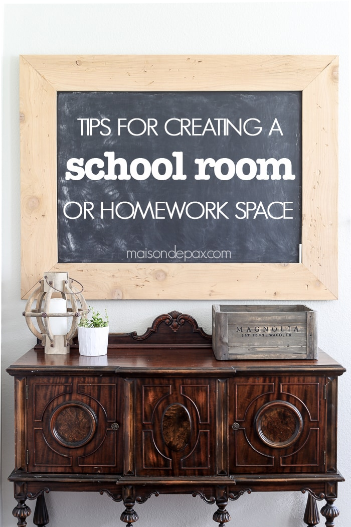 Tips for creating a schoolroom/ homework space: organization and practical suggestions