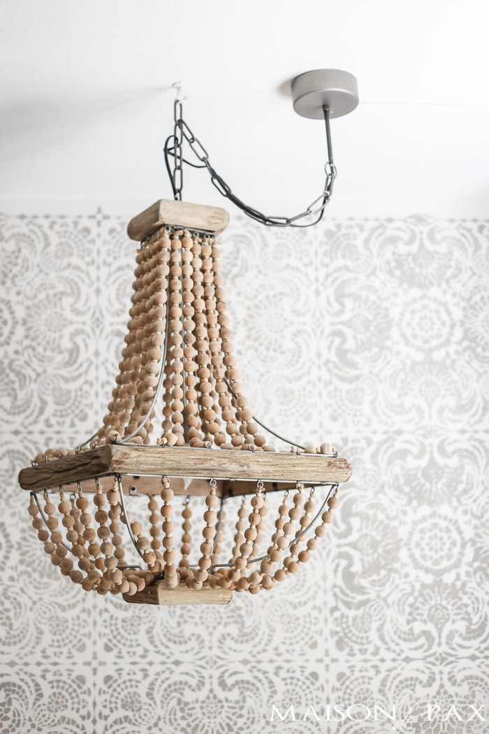 How to hang a plug in chandelier maison de pax how to hang a plug in chandelier gorgeous wood bead chandelier in front of a aloadofball Gallery