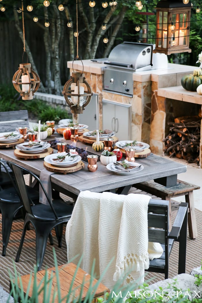 Outdoor fall tablescape maison de pax Fall decorating ideas for dinner party