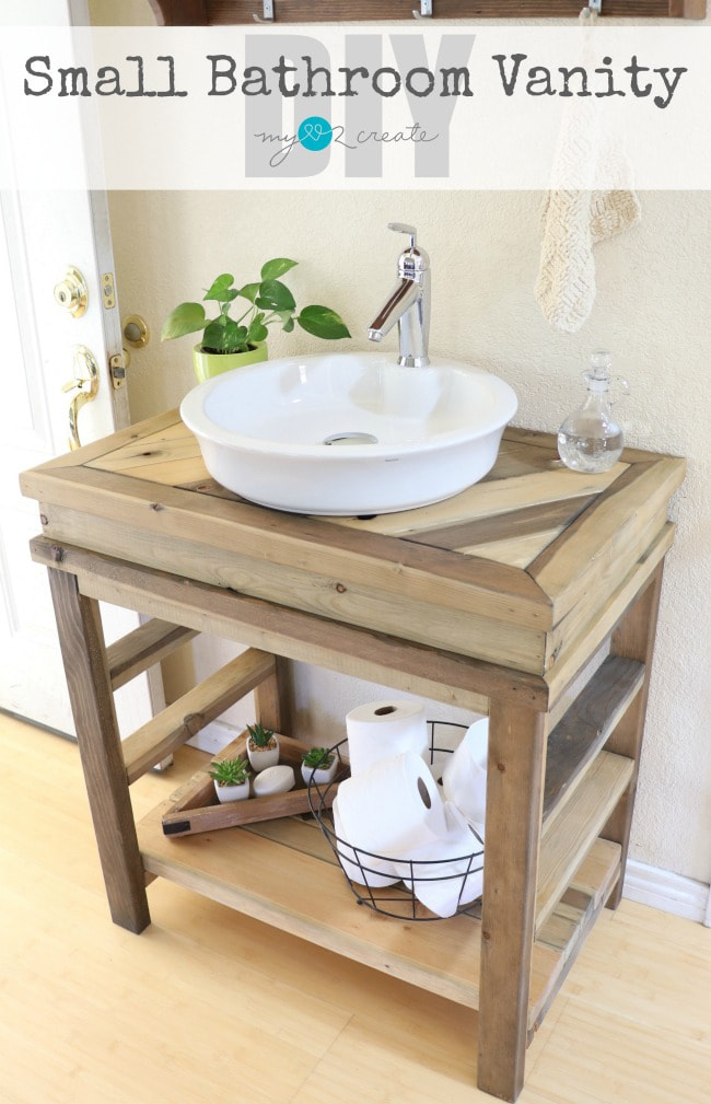 Diy farmhouse projects link party cherished bliss for Diy bathroom sink cabinet