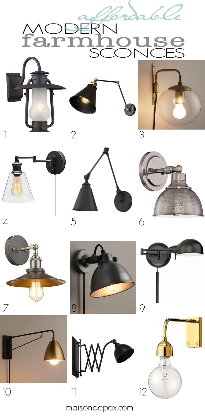 Affordable Modern Farmhouse Sconces: Swing Arm Wall Lamps, Rustic Modern  Metal And Glass Sconces