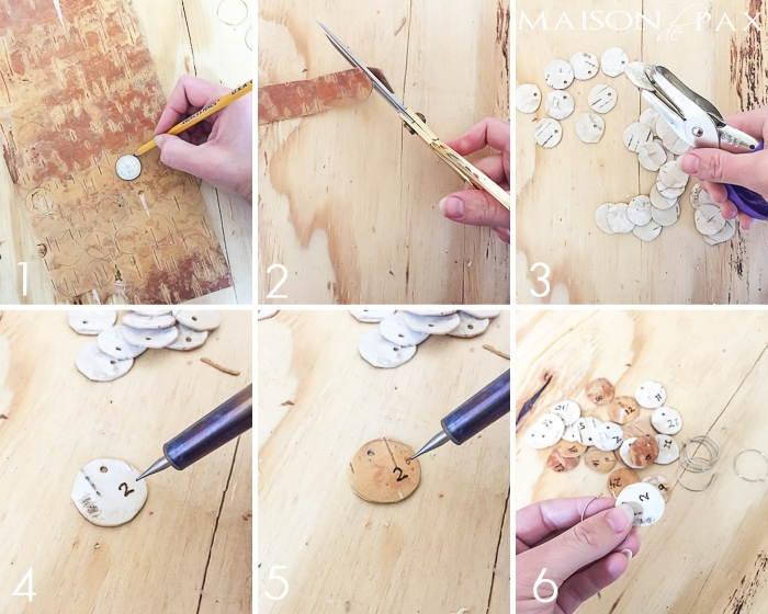 DIY Birch Bark Wine Charms: Entertaining for the holidays? These little numbered birch bark wine charms are the perfect accessory for your party so your guests can keep track of their glass!