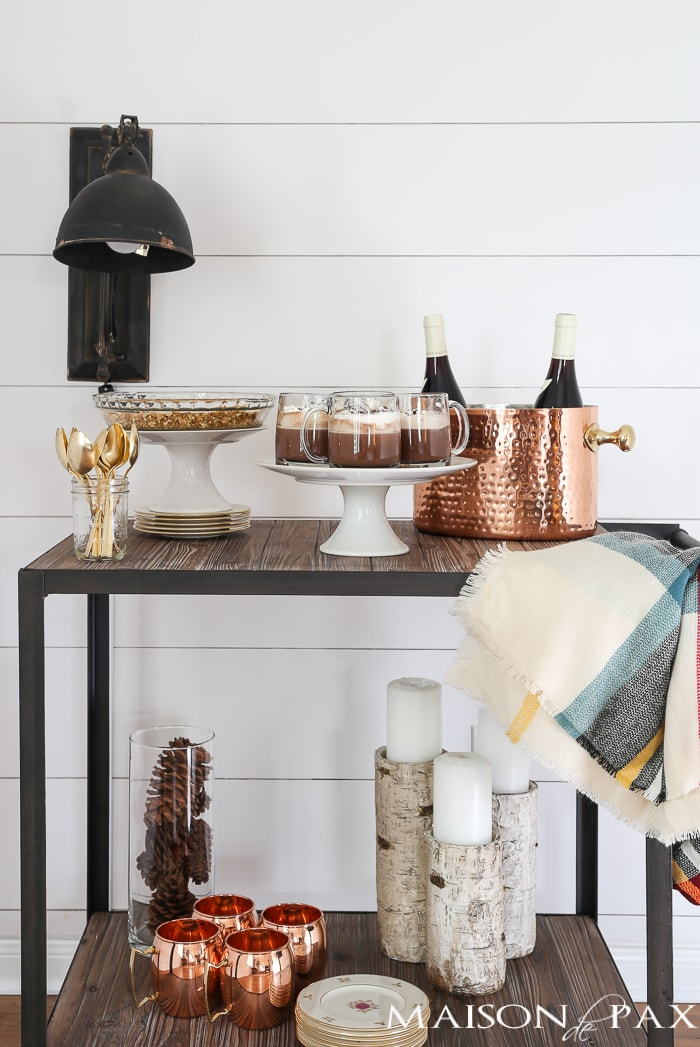 Farmhouse Holiday Bar Cart: Check Out This Gorgeous Holiday Drink And  Dessert Cart.