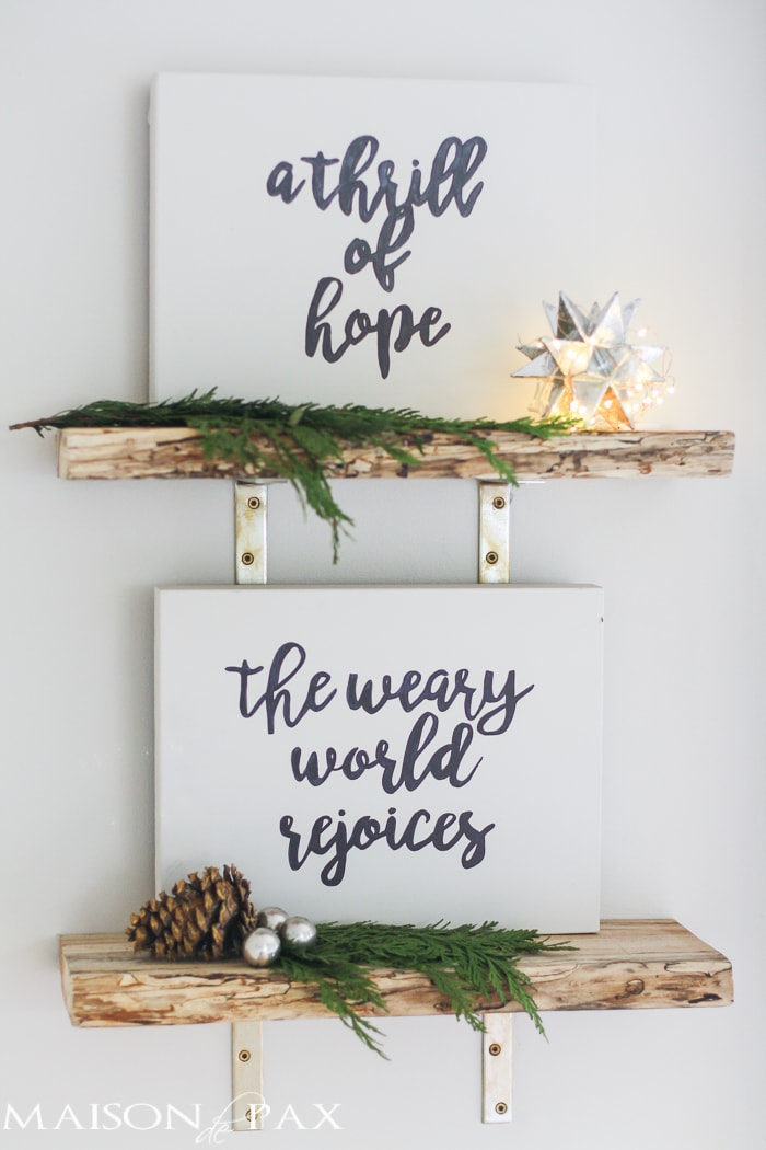 Free Christmas Printables! Prepare your heart for this season with this PAIR of Christmas printables... A thrill of hope AND the weary world rejoices!