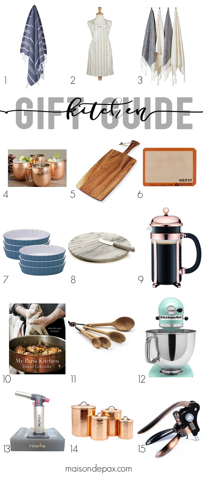 Looking for a Christmas gift for someone who loves to cook? Whether they are a pro chef or simply love to eat, these gifts are perfect for moms, friends, teachers, and sisters. Click to see this holiday kitchen gift guide!