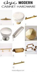 Chic Modern Cabinet Hardware: gorgeous knobs and cabinet pulls at a variety of prices - you'll be surprised how affordable some are!