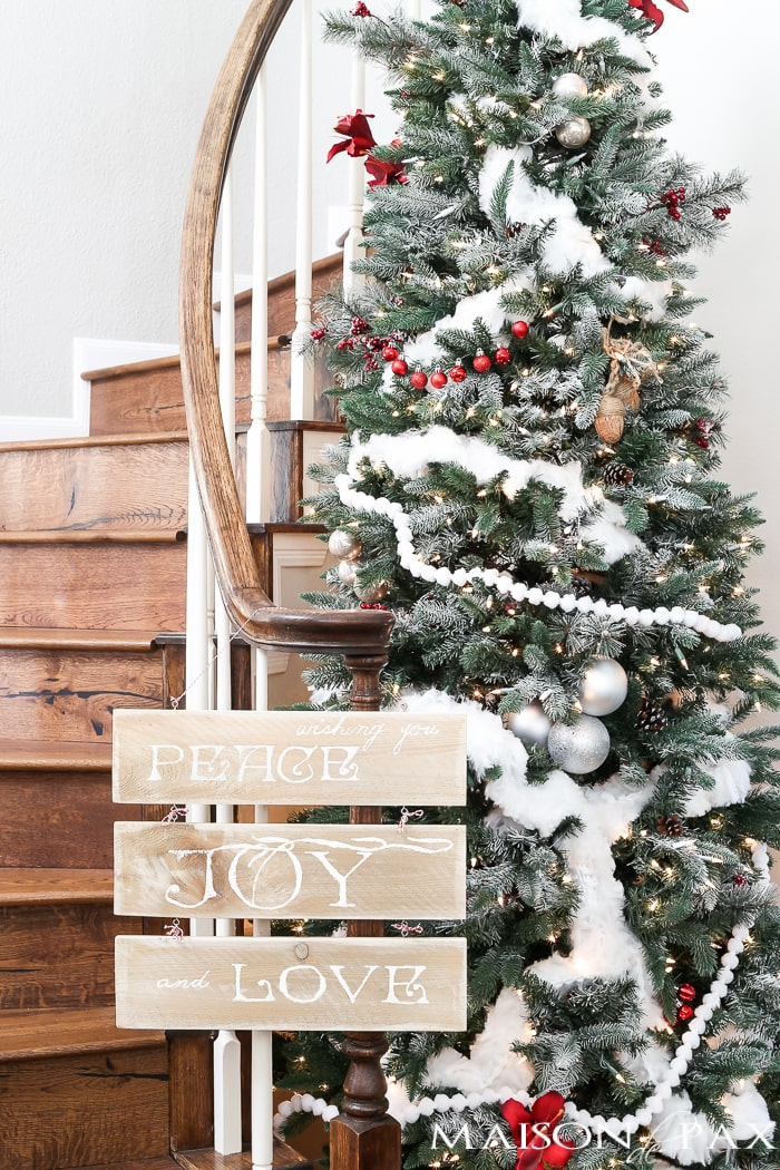 love this red and white winder wonderland christmas tree and youll never believe - Winter Wonderland Christmas Decorating Ideas