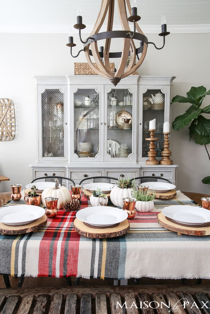Rustic Thanksgiving Tablescape With Plaid And Copper