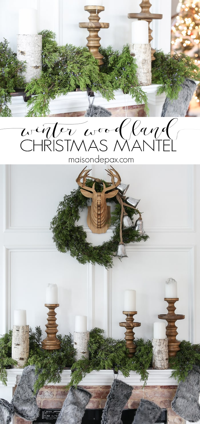 Woodland Christmas Mantel Decorations Collage