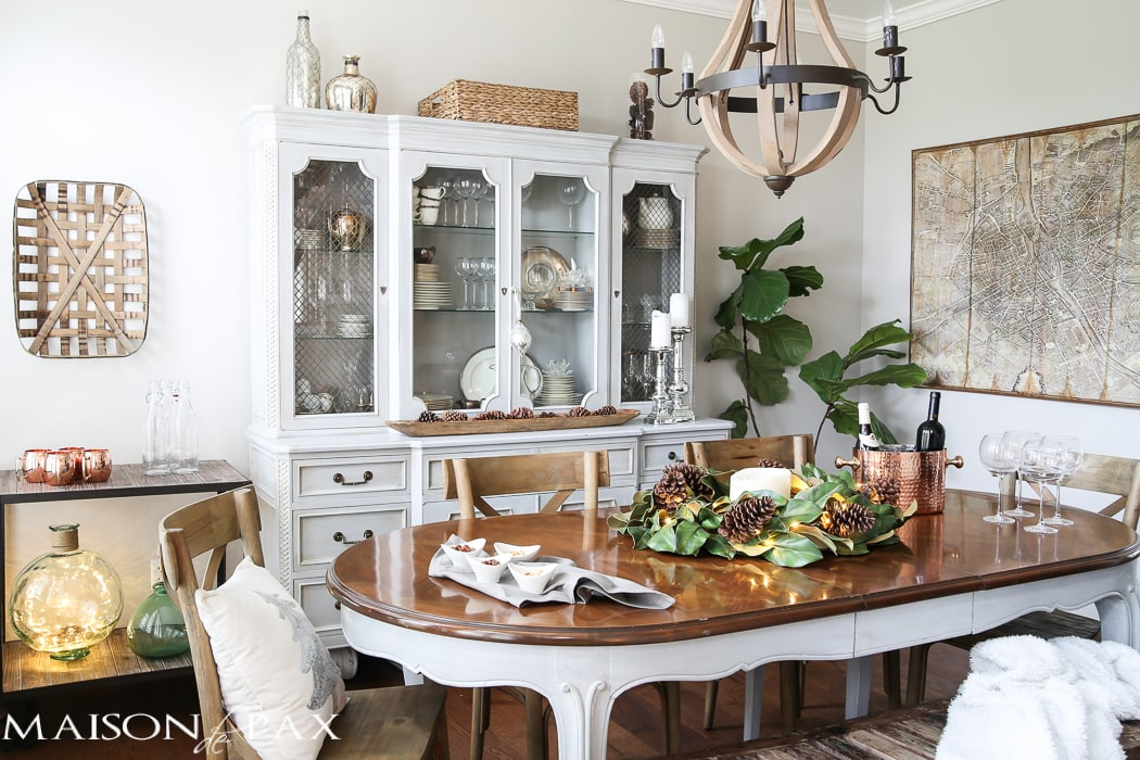 simple greenery and mercury glass makes this french farmhouse style dining room all set for christmas - Christmas Dining Room