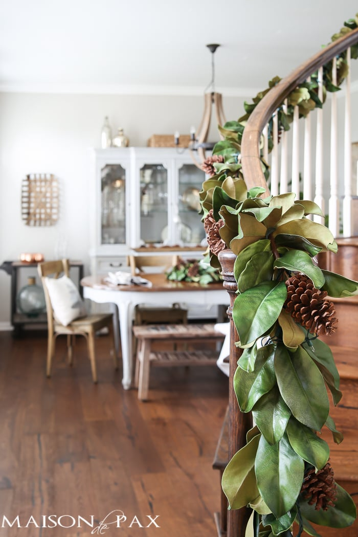 Simple Greenery And Mercury Glass Makes This French Farmhouse Style Dining Room All Set For Christmas