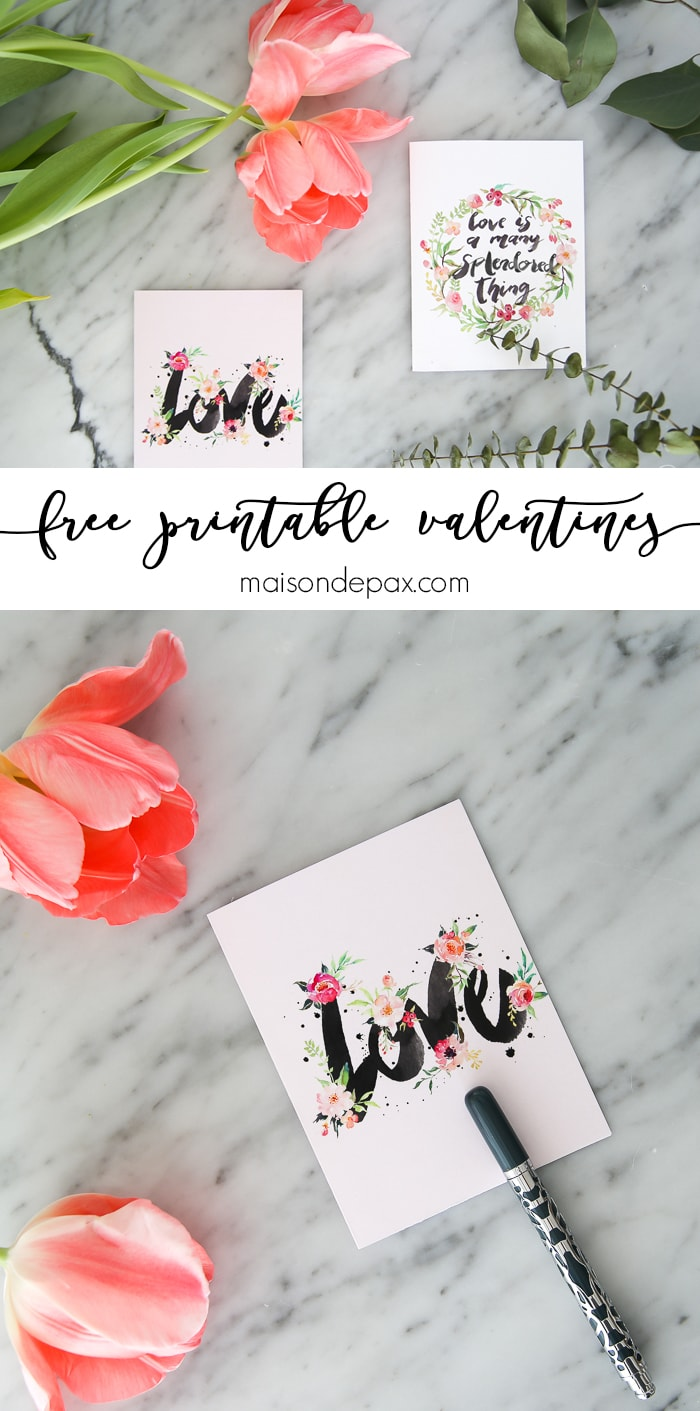 These free printable valentines cards celebrate love in watercolor. Use them to write a note to your loved one or simply to hang on the wall.