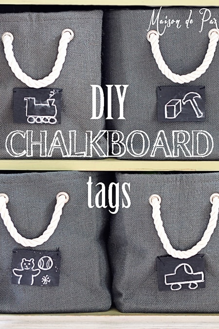DIY Chalkboard Tags: perfect for organizing kids toys, clothes, school supplies, and more!