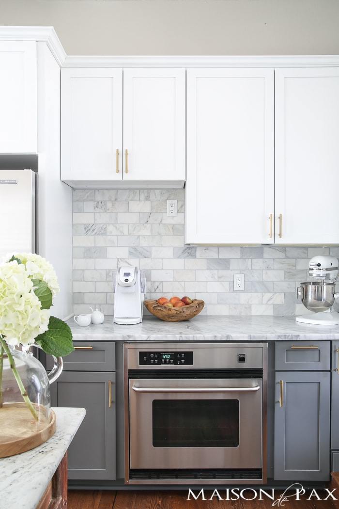 kitchen tiles for white kitchen. Two toned gray and white cabinets  marble subway tile Carrara countertops a Gray White Marble Kitchen Reveal Maison de Pax