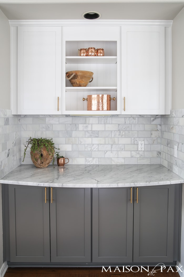 Two Toned Gray And White Cabinets, Marble Subway Tile, Carrara Countertops,  A