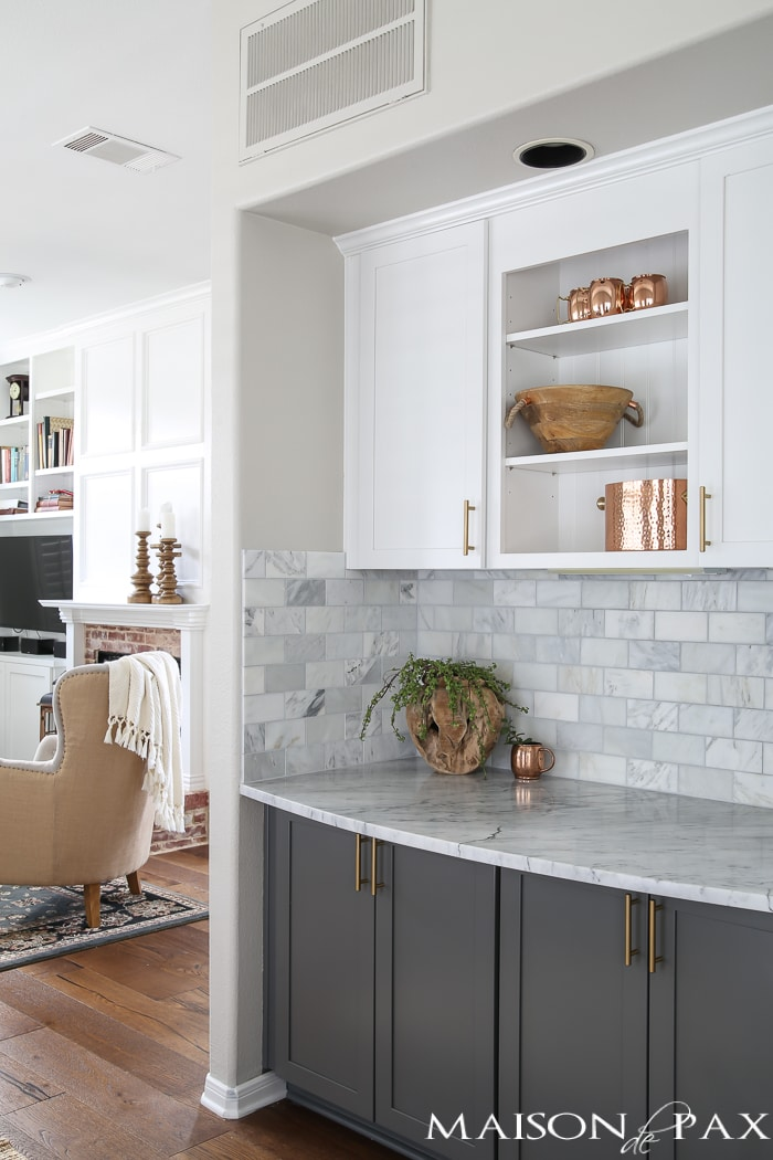 Gray And White And Marble Kitchen Reveal Maison De Pax - Gray kitchen cabinets with marble countertops