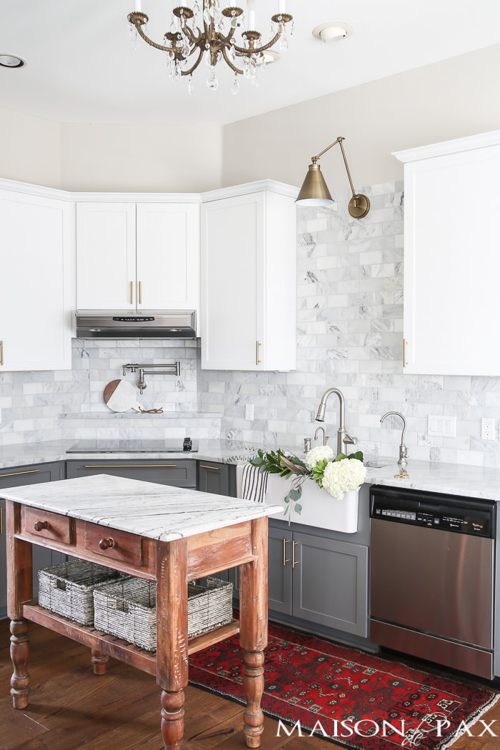 Gray and White and Marble Kitchen Reveal - Maison de Pax White Shaker Farmhouse Kitchen Designs Html on shaker homes, shaker cottage kitchen, shaker transitional kitchen, shaker barn, shaker contemporary kitchen, shaker living room, shaker bedroom, shaker dining room, shaker traditional kitchen,