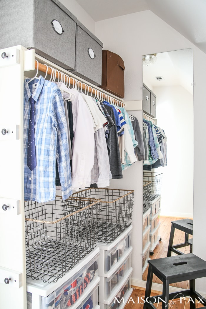 10 Tips for Organizing Kids' Closets: No matter the size of the closet (or the number of kids sharing it), these tips will help you create a system that will enable your kids to keep their own spaces organized so you don't have to keep organizing kids' closets over and over again.