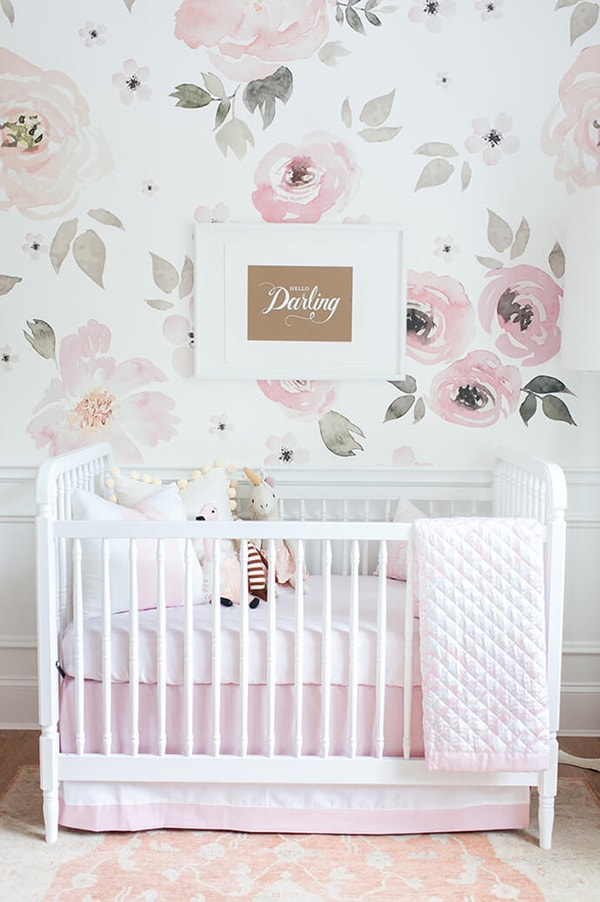 big rose wallpaper nursery