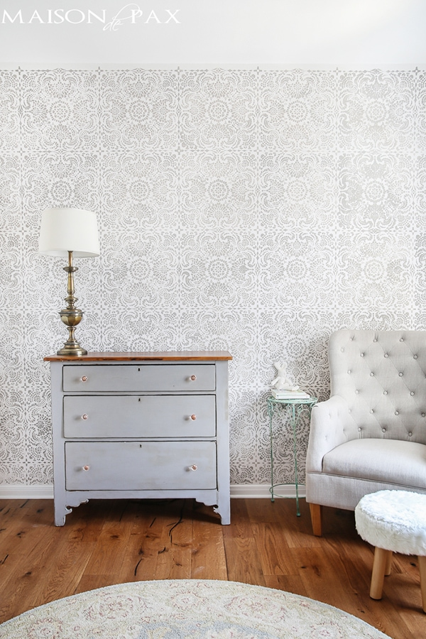 gray and white stencil nursery
