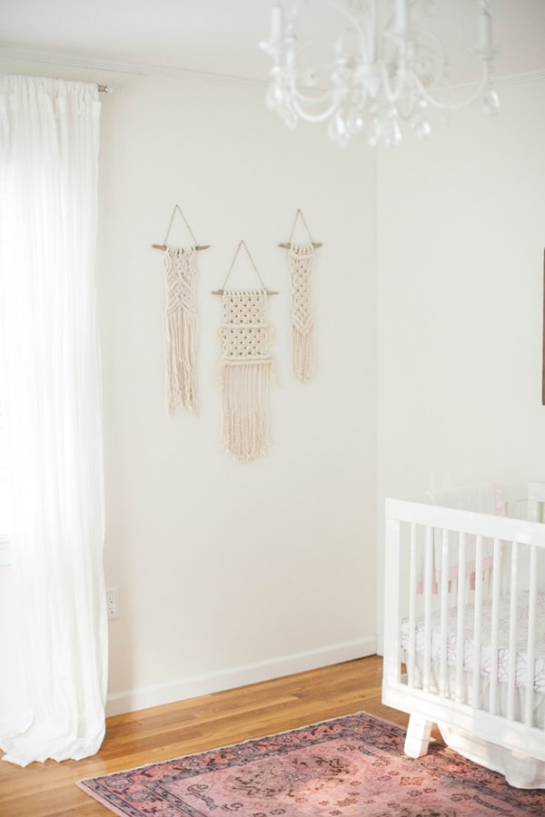 neutral nursery with macrame