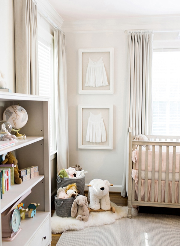 white and grayish taupe nursery